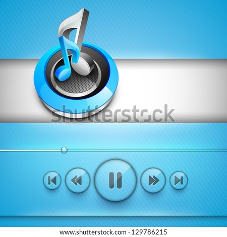 3D shiny musical notes with play, pause, forward and back buttons, mp3 player. - stock vector