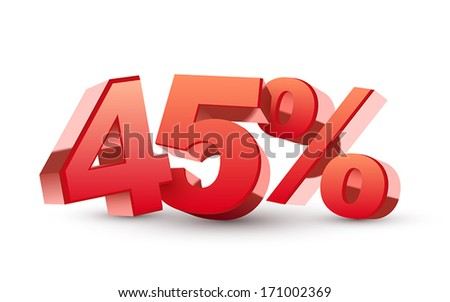 3d shiny red discount collection - 45 percent isolated white background