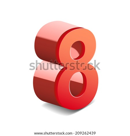 3d shiny red number 8 isolated on white background - stock vector