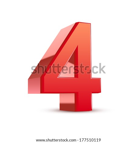 3d shiny red number 4 on white background - stock vector