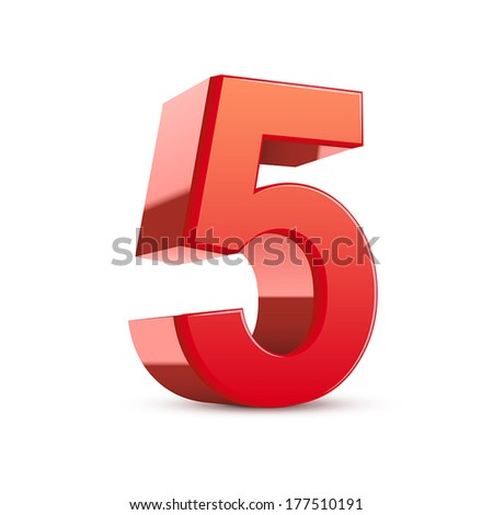 3d shiny red number 5 on white background - stock vector