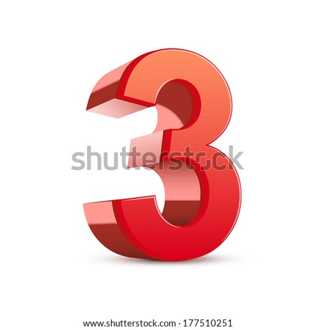 3d shiny red number 3 on white background - stock vector