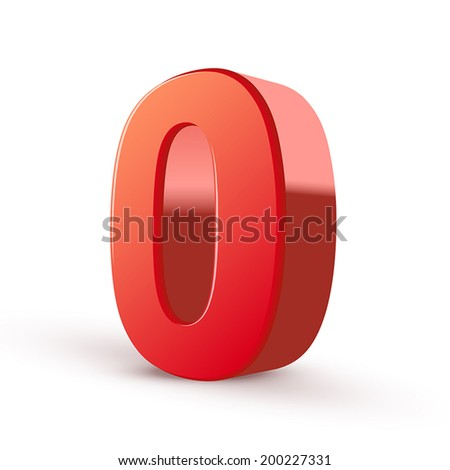 3d shiny red number 0 on white background - stock vector