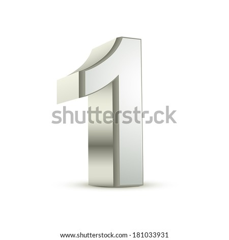3d shiny silver number 1 on white background - stock vector