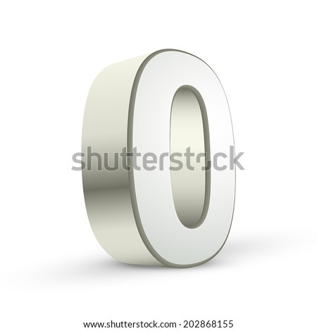 3d shiny silver number 0 on white background - stock vector