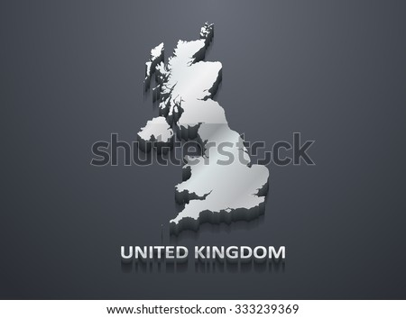 3D Shiny Silver United Kindgdom (U.K.) Map - stock vector