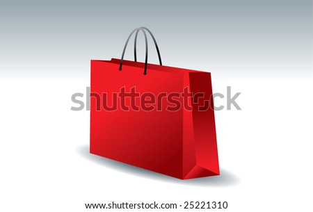 3D shopping bag in red color