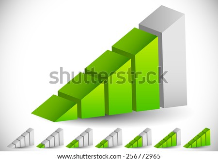 3D Signal Strength Indicator Icon Set - Progress Indicators - stock vector