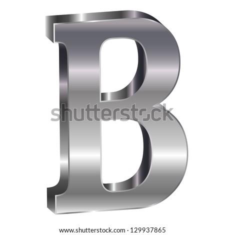 3D silver alphabet B - stock vector