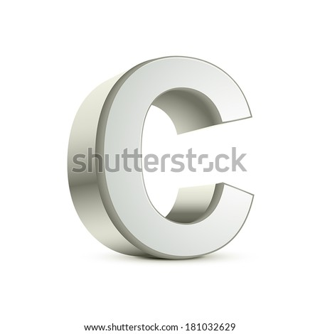 3d silver letter C isolated white background