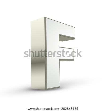 3d silver letter F isolated white background