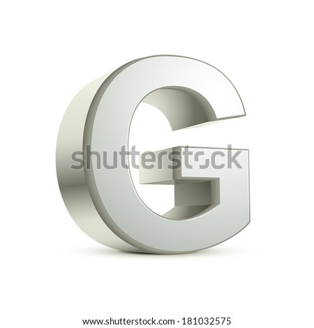3d silver letter G isolated white background - stock vector
