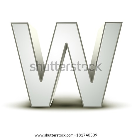 3d silver letter W isolated white background - stock vector