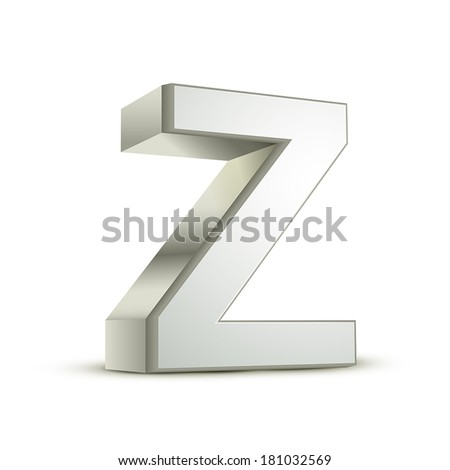 3d silver letter Z isolated white background - stock vector