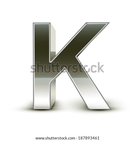 3d silver steel letter K isolated white background - stock vector