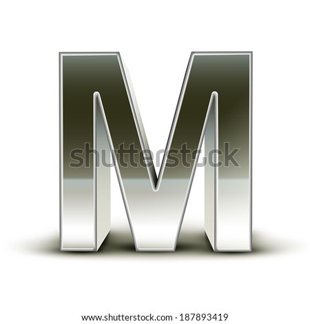 3d silver steel letter M isolated white background - stock vector