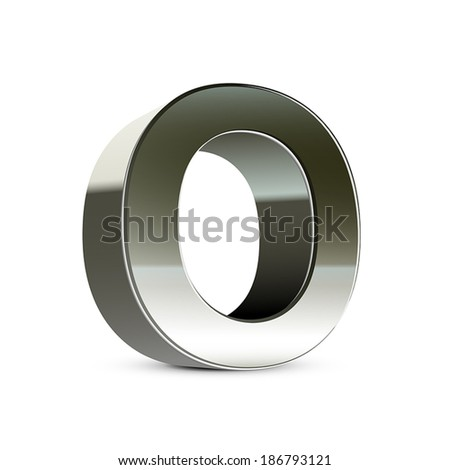3d silver steel letter O isolated white background - stock vector