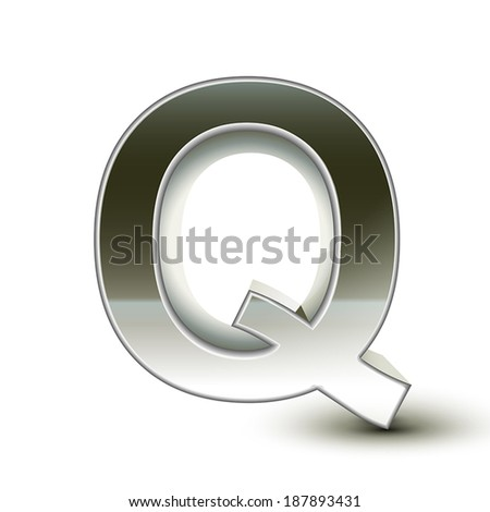 3d silver steel letter Q isolated white background - stock vector