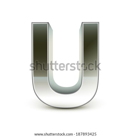 3d silver steel letter U isolated white background - stock vector