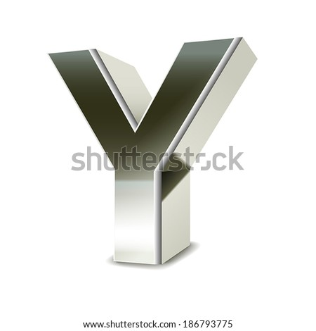 3d silver steel letter Y isolated white background - stock vector