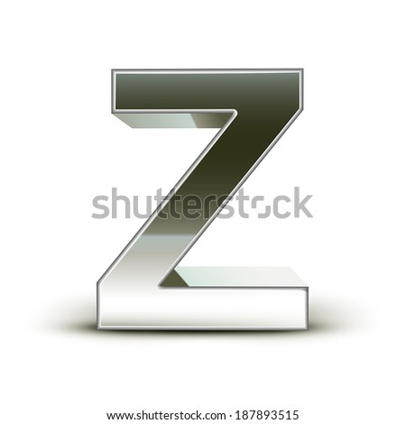 3d silver steel letter Z isolated white background