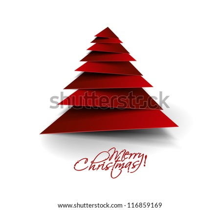 3d Simple vector christmas tree made from paper cut. - stock vector
