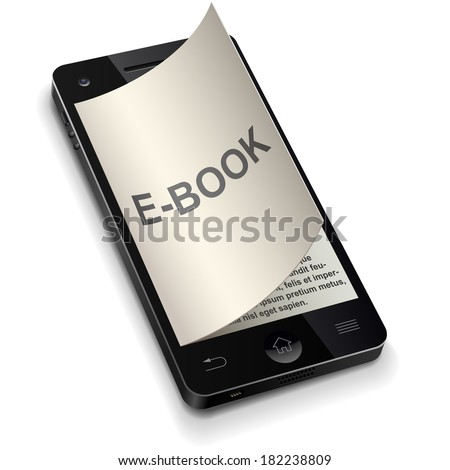3D smartphone e-book concept with curled title page vector illustration. - stock vector