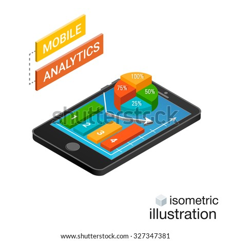 3D Smartphone with graphs in the isometric projection isolated on a white background. Mobile analytics concept. Modern infographic template. Isometric vector illustration. - stock vector
