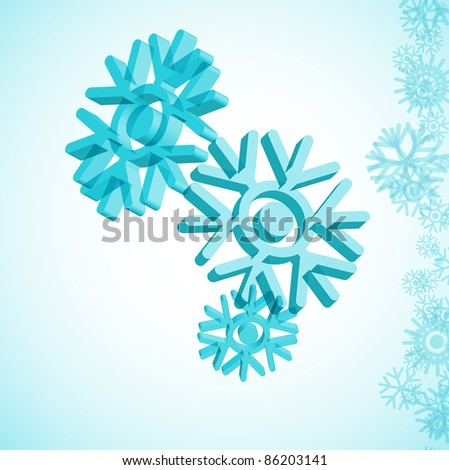 3D snowflake - stock vector