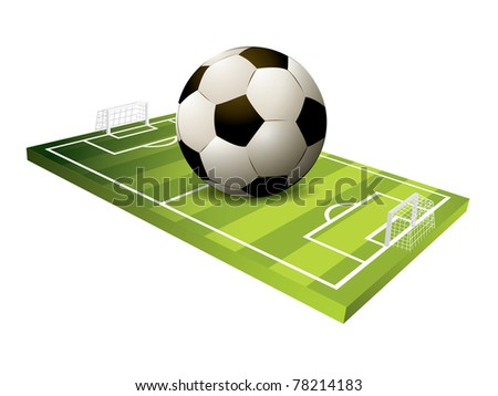 3d Soccer field vector - stock vector