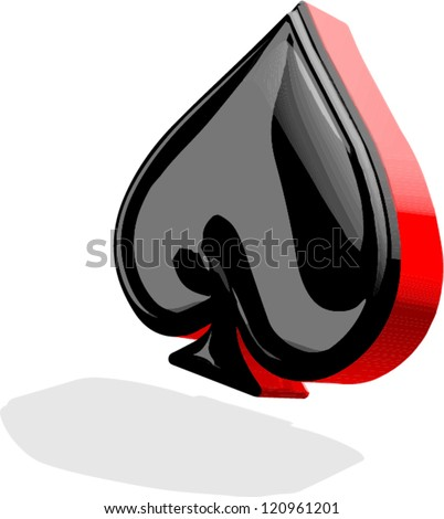 3D spades card suit - stock vector