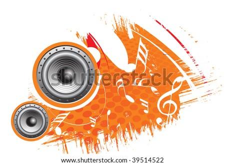 3d speaker on grunge retro wave lien background,vector illustration - stock vector