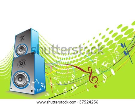 3d speaker on retro-rainbow wave halftone lien background - stock vector