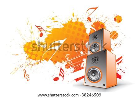 3d speaker on retro-rainbow wave lien background,vector illustration - stock vector