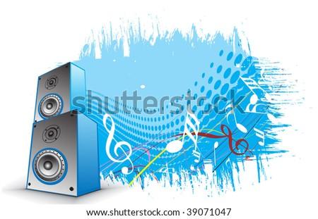 3d speaker on retro wave lien background,vector illustration - stock vector