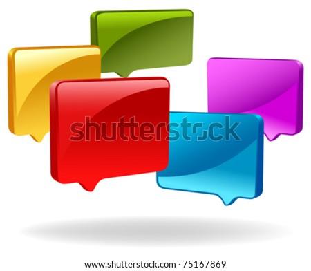 3d speech bubbles - stock vector