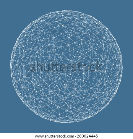 3d sphere. Global digital connections. Technology concept. Vector illustration.  - stock vector