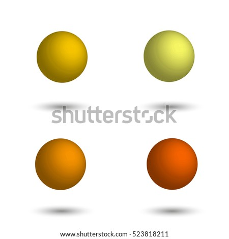 Different Shades Of Yellow vector set 3d balls palette pastel stock vector 532688437