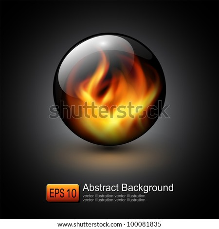 3D sphere with fire flames inside as vector background. - stock vector