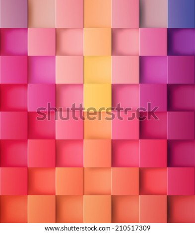 3d square mosaic. Vintage colorful texture. Vector illustration. - stock vector
