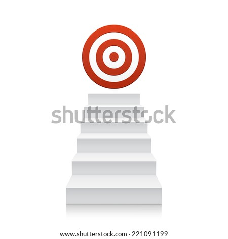 3d stairs with red target icon isolated on white background. Steps. Vector illustration - stock vector