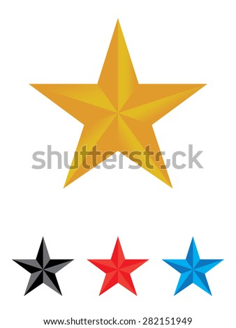 3D star set - stock vector
