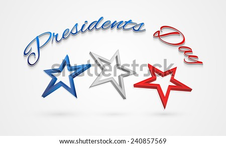 3D stars in United State American flag color for Presidents Day celebration. - stock vector