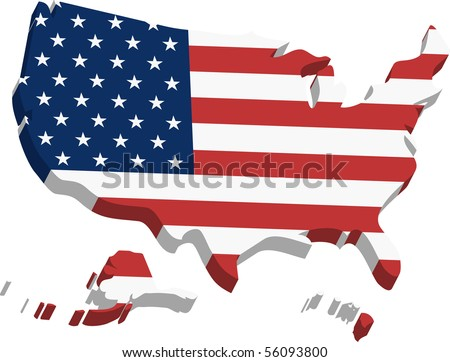 3D States. A three dimensional map of United States of America made in illustrator. - stock vector