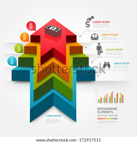 3d step up arrow staircase diagram business. Vector illustration. can be used for workflow layout, banner, number options, step up options, web design, infographics. - stock vector