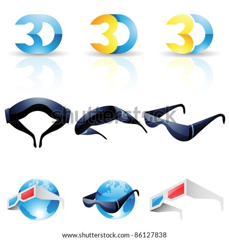 3D stereoscopic glasses isolated on a white background - stock vector