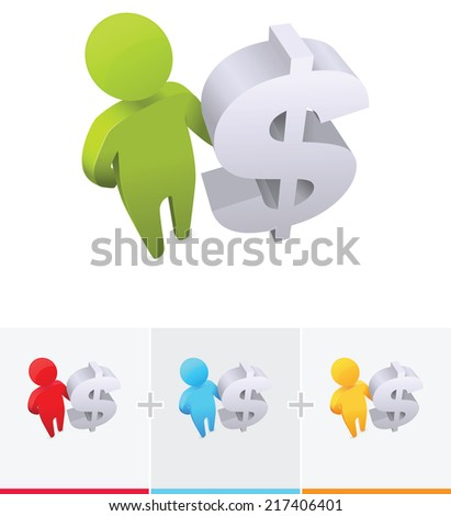 3D stick figure standing and holding a dollar symbol - stock vector