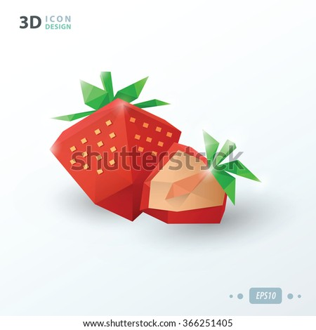 3d strawberries paper style - stock vector