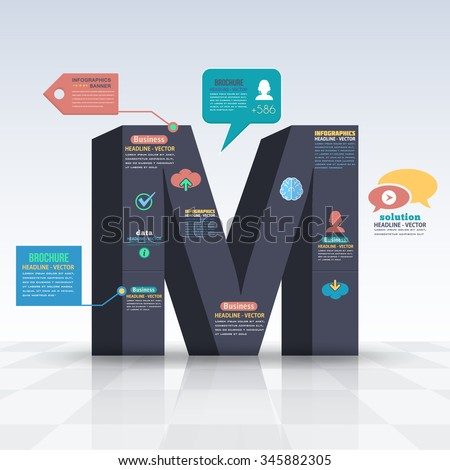 3d Style Letter M Flat Infographics Design and Web Elements. Business, Marketing Concept Vector Template - stock vector