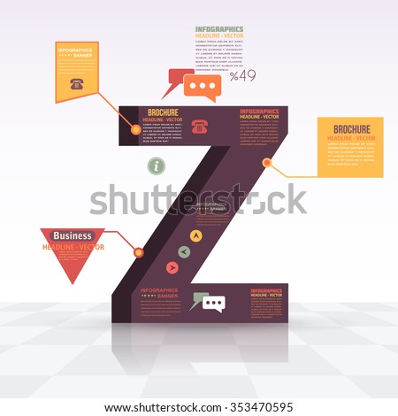 3d Style Letter Z Flat Infographics Design and Web Elements. Business, Marketing Concept Vector Template - stock vector